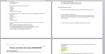 Romeo and Juliet Act 2 Quiz with Answer Key