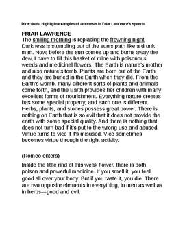 Romeo and Juliet Act 2, Scene 3- Friar's Speech Theme Analysis
