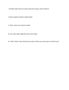 Romeo and Juliet Act 3 Comprehension Questions