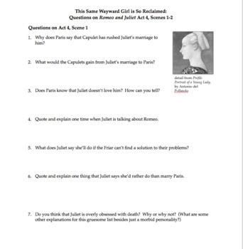 Romeo & Juliet Act 4 Close Reading Questions, Bellringers, Activities, & Quiz