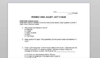Romeo and Juliet Act 3 Quiz with Answer Key