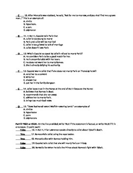Romeo and Juliet- Act 3 Quiz and Answer Key