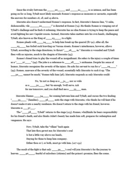Romeo and Juliet Act 3 Scene 1 Cloze Note Close Read Quiz Test