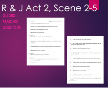 Romeo and Juliet Act 3: Scene 2-5 Guided Reading Questions