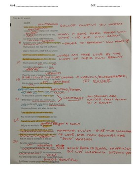 Romeo and Juliet Act 3 Scene 2 Close Reading and Annotated KEY