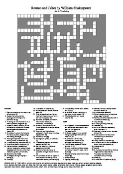 Romeo and Juliet - Act 3 Vocabulary Crossword