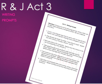 Romeo and Juliet: Act 3 Writing Prompts or Asssessment Quiz
