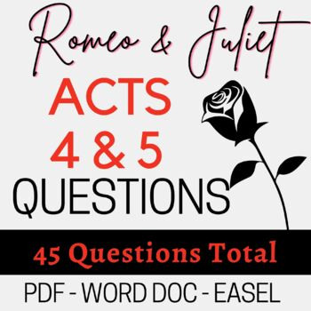 Romeo and Juliet  Act 4-5; 45 fill-in-the-blank TEST OR STUDY GUIDE w/ KEY