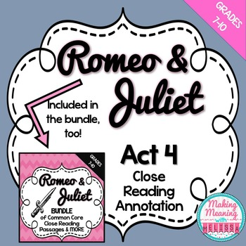Romeo and Juliet Act 4 Close Reading Annotation