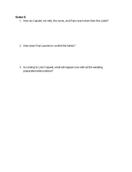 Romeo and Juliet Act 4 Comprehension Questions