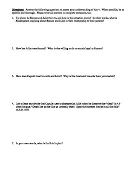 Romeo and Juliet Act 4 Multiple Choice and Short Answer Quiz