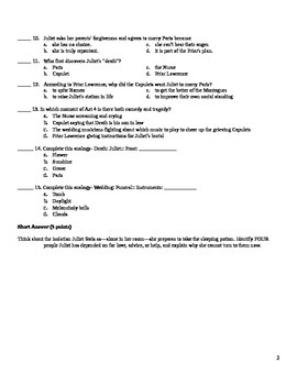Romeo and Juliet- Act 4 Quiz and Answer Key