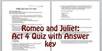Romeo and Juliet Act 4 Quiz with Answer Key