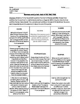 Romeo and Juliet- Act 4 Tic-Tac-Toe Worksheet