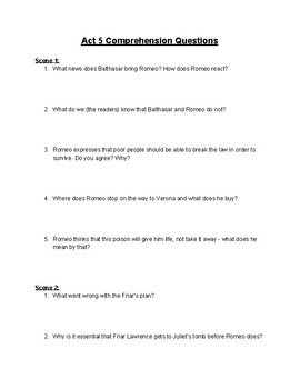 Romeo and Juliet Act 5 Comprehension Questions