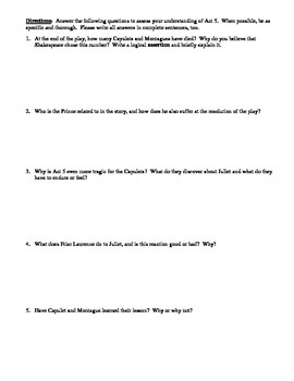 Romeo and Juliet Act 5 Multiple Choice and Short Answer Quiz