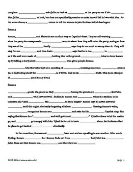 Romeo and Juliet Act I CLOZE Summary