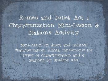 Romeo and Juliet Act I Characterization Mini-Lesson & Stations Activity