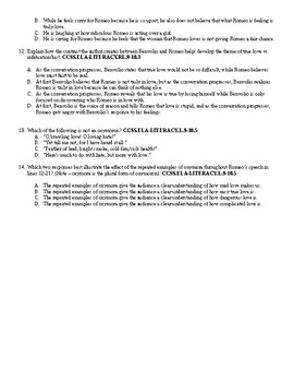 Romeo and Juliet Act I Common Core Mini Assessment