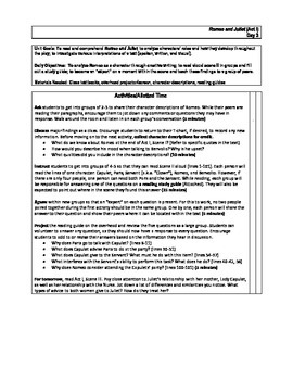 Romeo and Juliet: Act I Lesson Plans