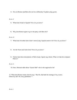 Romeo and Juliet Act I Questions