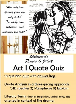 Romeo and Juliet - Act I Quote Quiz