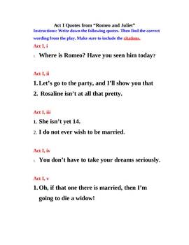 Romeo and Juliet Act I Quotes