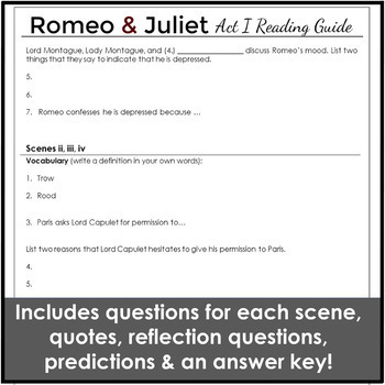 Romeo and Juliet Act 1 Reading Guide
