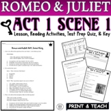 Romeo and Juliet: Act I, Sc. I Common Core Reading Quiz Pack (Test Prep)