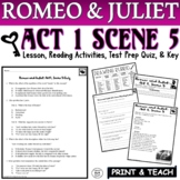 Romeo and Juliet: Act I, Sc. V Common Core Reading Quiz Pack (Test Prep)