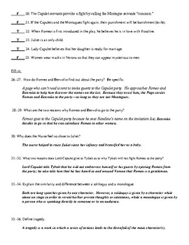 Romeo and Juliet Act I Test with Answer Key