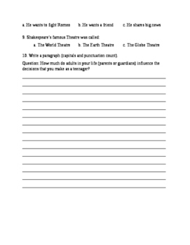 Romeo and Juliet Act I and II quiz (special education and LD version)