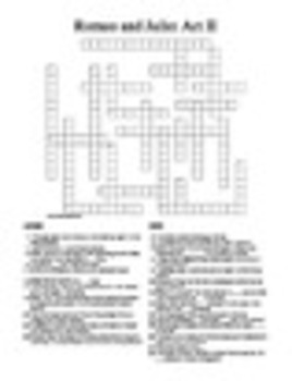 Romeo and Juliet Act II Crossword Puzzle