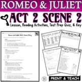 Romeo and Juliet: Act II, Sc. II Common Core Reading Quiz Pack (Test Prep)