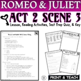 Romeo and Juliet: Act II, Sc. III Common Core Reading Quiz Pack (Test Prep)