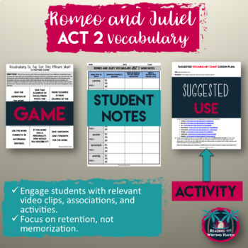 Romeo and Juliet Act II Vocabulary Notes, Activity, Game, and Quiz