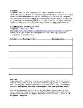 Romeo and Juliet Act II Worksheet (Including Informational Text Essay)