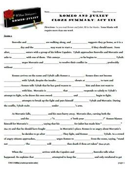 Romeo and Juliet Act III CLOZE Summary