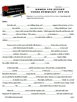 Romeo and juliet worksheets and answers pdf