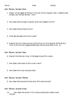 Romeo and Juliet Act III Questions for Discussion