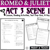 Romeo and Juliet: Act III, Sc. I Pt. 1 Common Core Reading Quiz Pack (Test Prep)