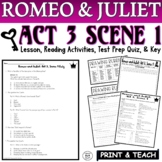 Romeo and Juliet: Act III, Sc. I Pt. 2 Common Core Reading Quiz Pack (Test Prep)