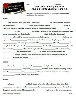Romeo and Juliet Act IV CLOZE Summary