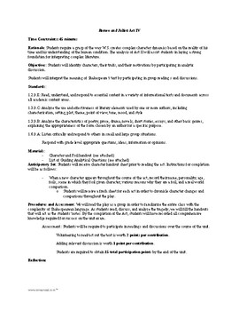 Romeo and Juliet - Act IV Guiding Questions and Character Analysis Chart