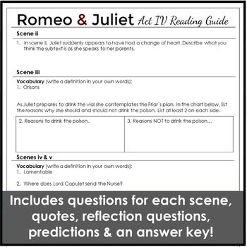 Romeo and Juliet Act 4 Study Guide With Questions and Activities