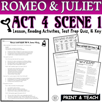 Romeo and Juliet: Act IV, Sc. I Common Core Quiz Pack (FSA Reading PARCC SBAC)