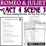 Romeo and Juliet: Act IV, Sc. III Common Core Reading Quiz Pack (Test Prep)