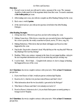 Romeo and Juliet Act Notes and Questions