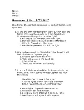 Romeo and Juliet Act One Quiz