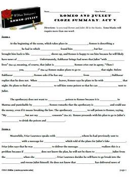 Romeo and Juliet Act V CLOZE Summary